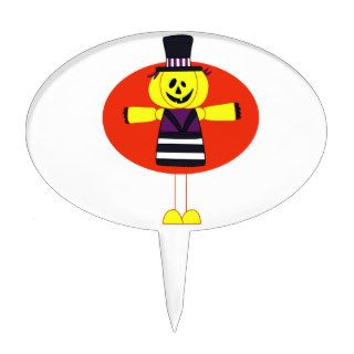 Pumpkin man cartoon orange behind cake toppers