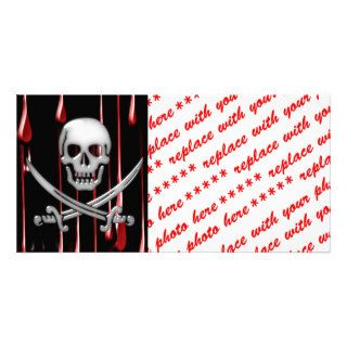 Glassy Pirate Skull & Sword On Bloody Drips Photo Card Template