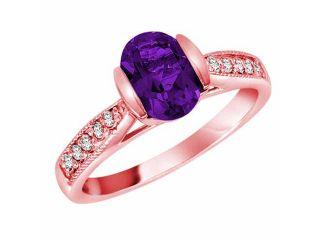Ryan Jonathan 10K Rose Gold Round Oval Amethyst and Diamond Ring