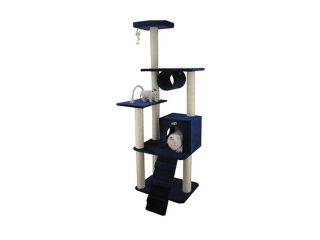 Armarkat 71 Inch Wooden Step Cat Tower Tree Condo Scratcher Kitten House  Navy Blue