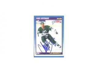 Chris Govedaris, Hartford Whalers, 1991 Score Top Prospect Autographed Card