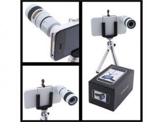 iPhone 4 4S Compatible Lens Kit   180 Degree Fish Eye, 0.67x Wide Angle, Macro, White 8X Optical Zoom Telescope