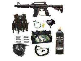 US Army Alpha Black Tactical Paintball Marker Gun 3Skull Vest Sniper Set   Black