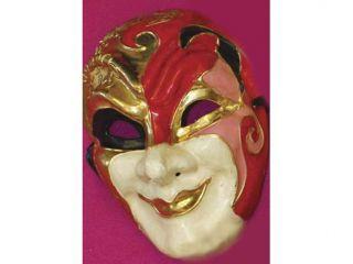 Court Jester Paper Mache Venetian, Masquerade, Mardi Gras Mask Red/Pink