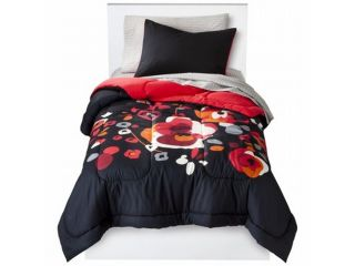 Room Essentials Twin XL Bed in Bag Black Floral Comforter Set Sheets Shams 5 pc