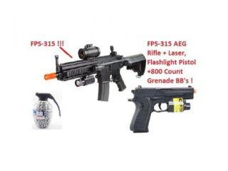RED DOT SIGHT, LASER DE 614 AEG Airsoft Full Auto Rifle Electric Air Gun, 315 FPS Hop Up Combat Rifle Airsoft Gun + 180 FPS Airsoft Pistol Flashlight, Laser + 800 Count Grenade BB's