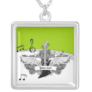Black white electric guitar wings on lime green personalized necklace