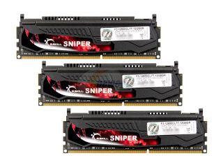 G.SKILL Sniper Gaming Series 12GB (3 x 4GB) 240 Pin DDR3 SDRAM DDR3 1600 (PC3 12800) Desktop Memory Model F3 12800CL7T 12GBSR